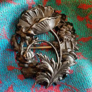Antique Art Nouveau Poppy brooch pin flower vintag